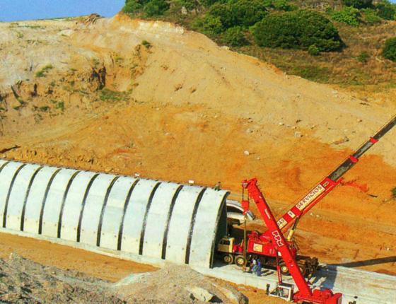 Gabarit 7mx4.5 Section 48m2 Longueur 240 ml hauteur de cuouverture 24m Ouvrage ferroviaire sur la A19 a Marines en Espagne