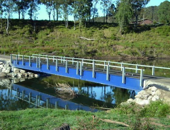 UB tablier metallique monovoie largeur 4m longueur 34.2m Pont temporaire dans le Somerset Regional Council a Caboonah en Australie